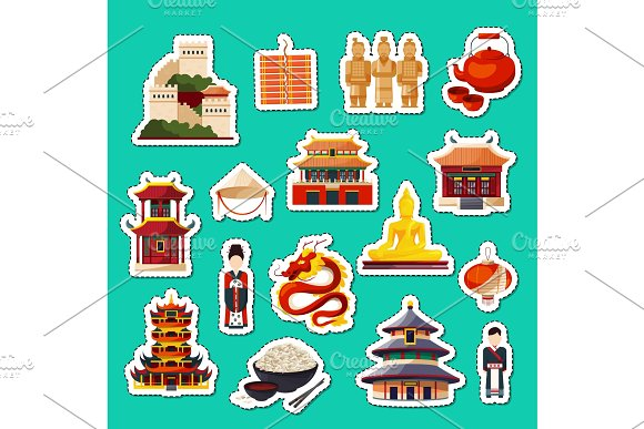 Vector Set Of Flat Style China Elements And Sights Stickers
