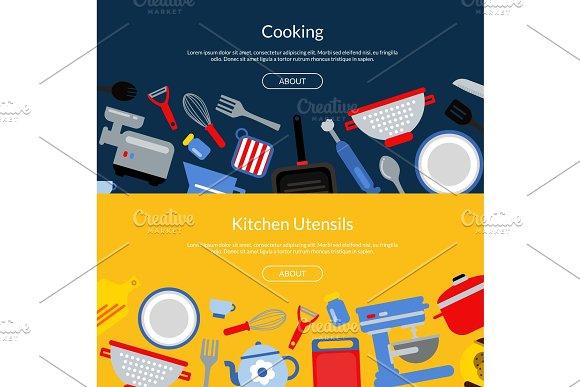 Vector Flat Style Kitchen Utensils Illustration