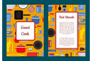 Vector flat kitchen utensils card, flyer