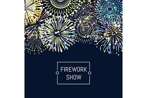 Vector banner or poster fireworks background illustration with place for text