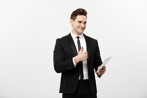business, communication, modern technology and office concept - smiling buisnessman with tablet computer showing thumbs up. Isolated over white background