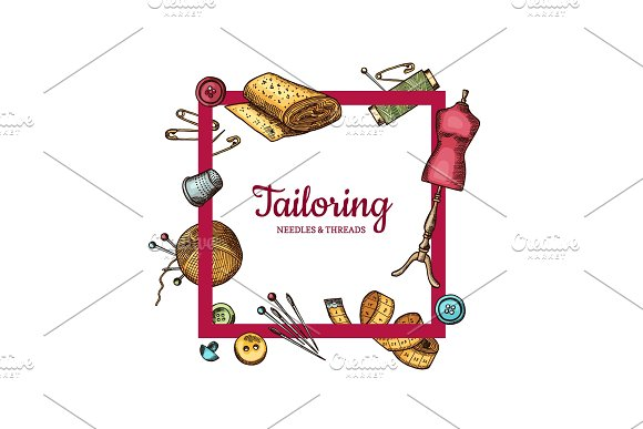 Vector Frame With Hand Drawn Sewing Elements