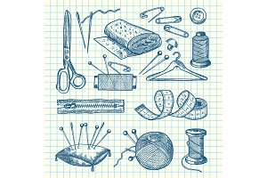 Vector set of hand drawn sewing elements illustration