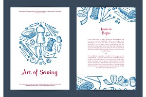 Vector hand drawn sewing elements card, flyer or brochure