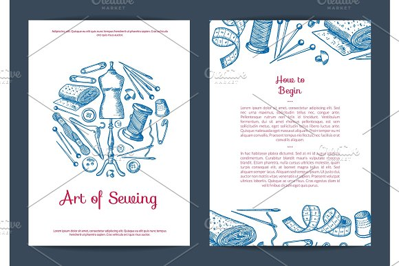 Vector Hand Drawn Sewing Elements Card Flyer Or Brochure