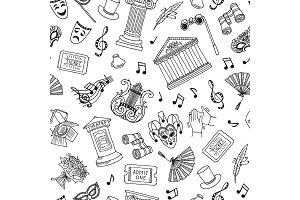 Vector pattern background illustration doodle theatre elements