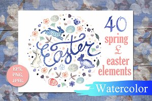 Set of watercolor Easter and Spring