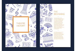 Vector doodle theatre elements card, flyer or brochure