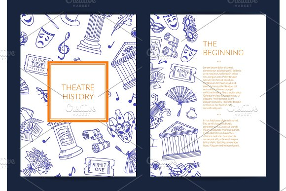 Vector Doodle Theatre Elements Card Flyer Or Brochure