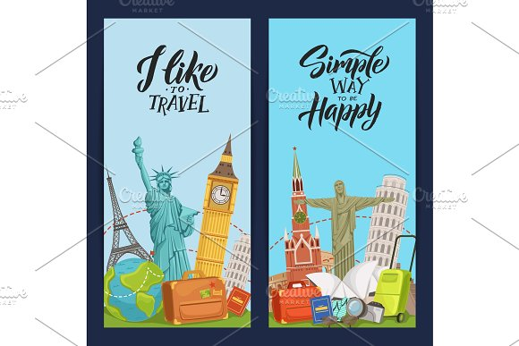 Vector World Sights Flyer Templates For Travel Agency