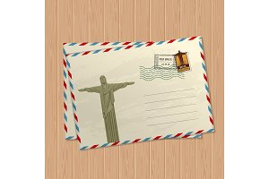 Vector vintage style letters with statue of jesus christ