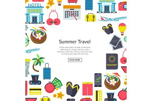 Vector flat travel elements background illustration