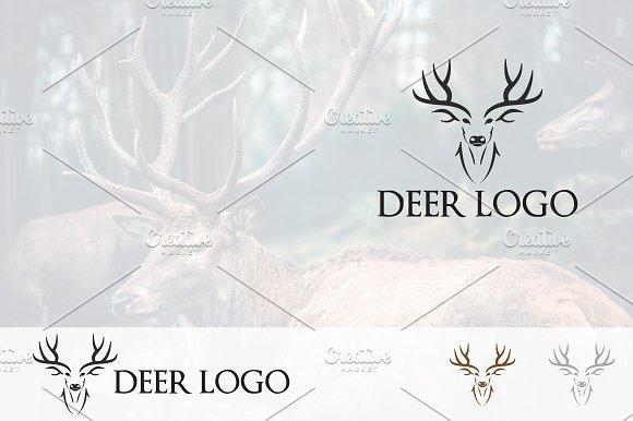 Roe Deer Antlers Head Logo