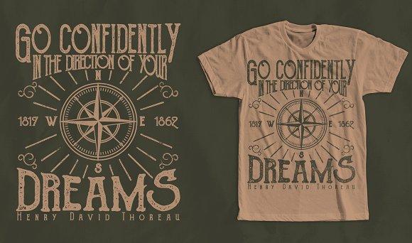 Direction Dreams Quote Tshirt Design