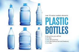Plastic Bottles Realistic Set