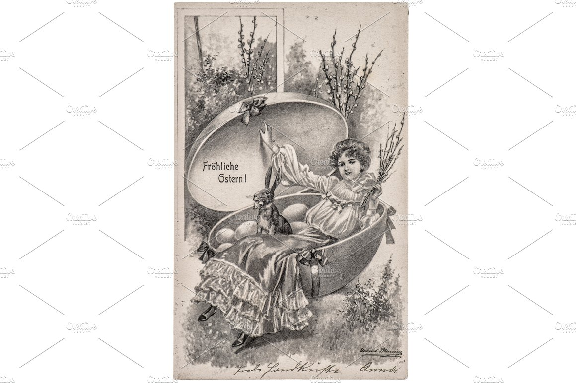 Vintage German Easter Greetings Card Graphic Objects Creative Market