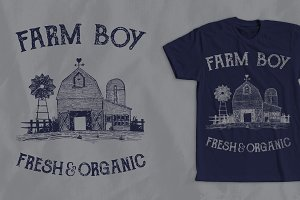 Farm Boy Vintage T-Shirt Design