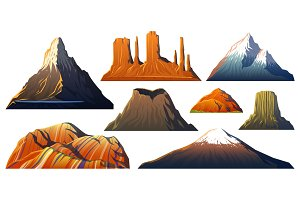 Mountains Peaks, landscape early in a daylight, big set. monument valley, matterhorn, roraima, fuji or vesuvius, devils tower, everest or rainbow. travel or camping, climbing. Outdoor hill tops