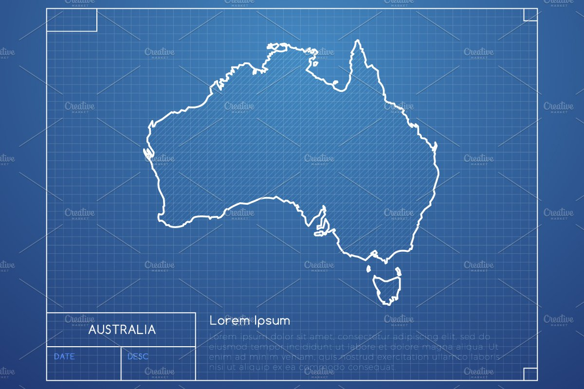 australia blueprint map illustrations creative market