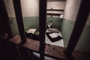 Old prison cell in prison jail