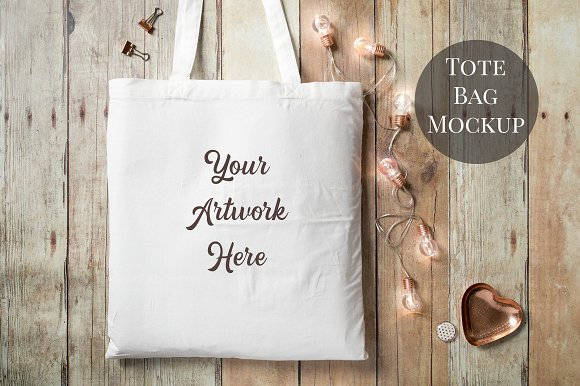 Free Tote Bag Mockup- wood background