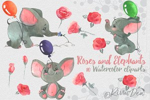 Rose and Elephant watercolor clipart