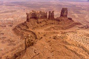 Monument valley rocks in desert
