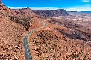 Scenic asphalt road in Grand Canyon