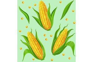 Corn cobs seamless pattern