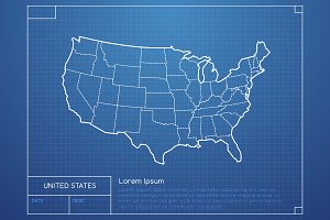 USA Blueprint Map