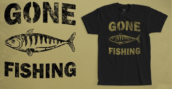 Gone Fishing T-Shirt Design