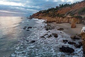 Scenic ocean beach with rocks Malibu