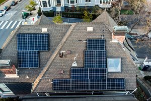 Solar panels system on house roof