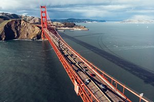Cars moving on Golden Gate bridge