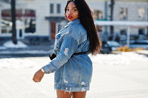 African american girl in jeans dress