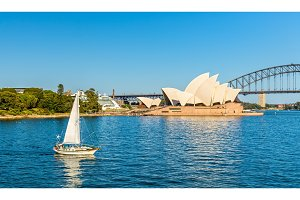 Sydney Opera House and a yacht in the Harbour - Australia