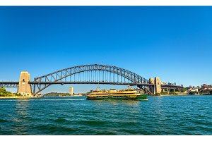 City ferry under the Sydney Harbour Bridge - Australia