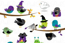 Halloween Birds Clipart & Vectors