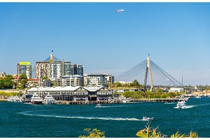 View of Pyrmont district and the Anzac Bridge in Sydney