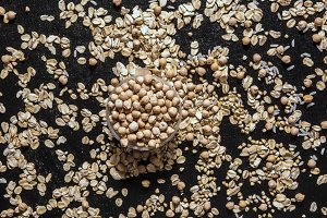 chickpea healthy diet raw cereals on the black table