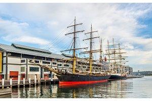 Vintage sailing ships in Sydney Harbour, Australia
