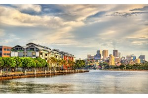 View of Pyrmont Bay in Sydney, Australia