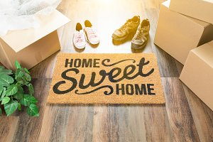 Welcome Mat and Moving Boxes, Shoes