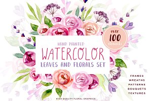 Watercolour Leaves and Floral Kit