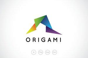 Random Origami Paper Logo Template