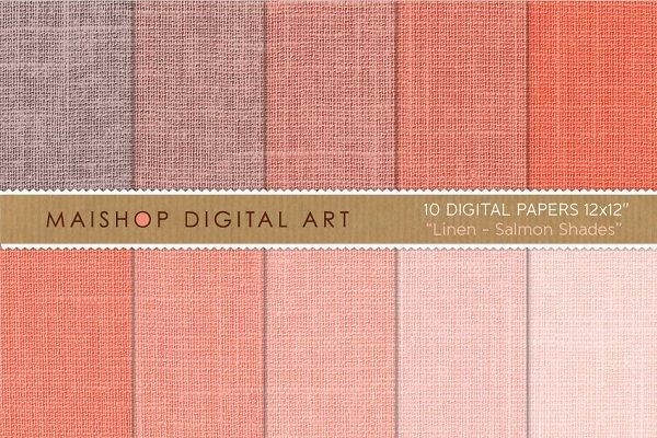 Digital Paper-Linen-Salmon Shades