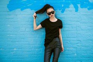 Beautiful asian girl wear sunglasses