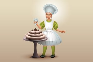 Girl cook decorated chocolate cake