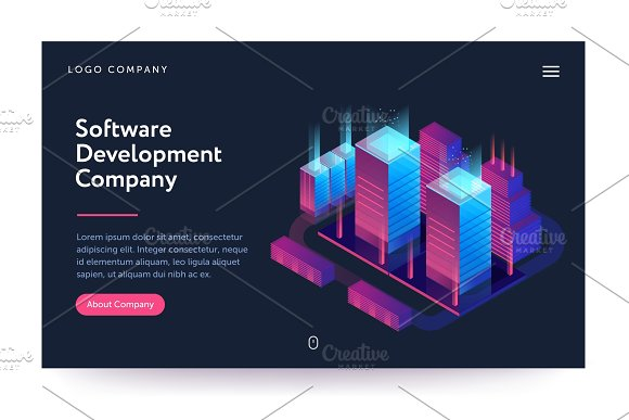 Software Development Company Illustration Web Banner With Neon Light And Modern Buildings Isometric Gradient Style Home Page Concept UI Design Mockup