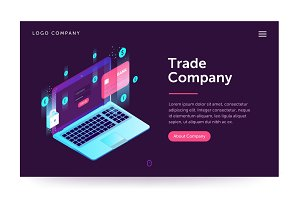Trade company illustration. Web banner with laptop and currency. Isometric gradient style. Home page concept. UI design mockup.